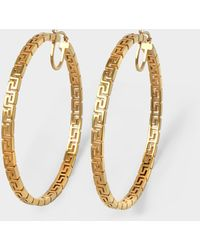 Versace Hoop Earrings In Golden Brass - Metallic