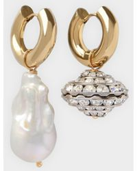 Timeless Pearly Ohrringe Crystal And Pearl Mit Weißen Und Silberfarbenem Details - Metallic