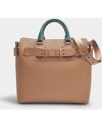 Burberry The Medium Belt Bag In Light Camel And Chalk White Calfskin - Natural