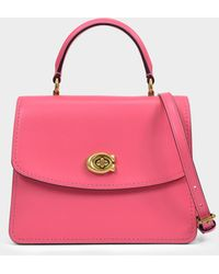 COACH Parker Top Handle Bag In Pink Leather