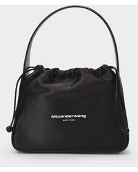 Alexander Wang Handbag Ryan In Black Satin And Palmelato Leather