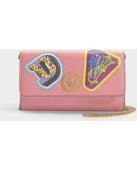 Versace - Wallet On Chain With Patches Lettering In Shell Pink Calf Leather - Lyst