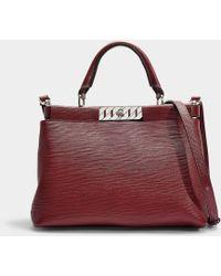 BOSS - Veronika Top Handle Bag In Red Calfskin - Lyst