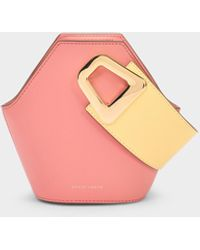 Danse Lente Xs Johnny Bucket Bag In Peach And Lemon Leather - Pink