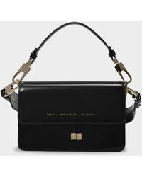 Chylak Shoulder Bag In Glossy Black Leather