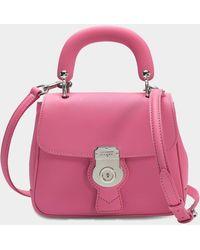 Burberry - Small Dk88 Top Handle Bag In Pink Embossed Calfskin - Lyst