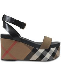 Burberry   Nuneaton Check Wedge Sandals   Lyst