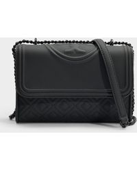 9ff012d0fe5a Tory Burch - Fleming Matte Small Convertible Shoulder Bag In Black  Synthetic Leather - Lyst