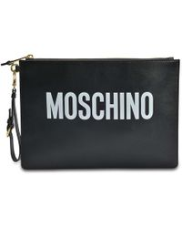 Moschino - Pouch Large Bag In Black Calfskin - Lyst