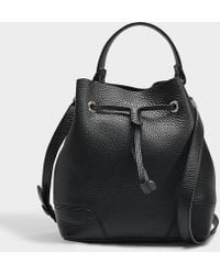 Furla - Stacy Drawstring Small Bucket Bag In Black Calfskin - Lyst