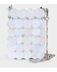 Paco Rabanne Handbag Sparkle Mini Bridle In Iridescent White