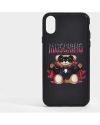 Moschino Coque iPhone X Teddy en PVC Noir