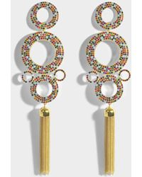 Joanna Laura Constantine - Grommets Statement Rainbow Earrings In Gold-plated Brass With Multicolored Stones - Lyst
