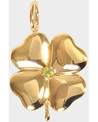 Aurelie Bidermann - Fine Jewellery - 18k Gold Clover Pendant With Tasvorite Stone - Lyst