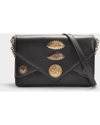 Roberto Cavalli - Gange Small Shoulder Bag In Black And Red Calfskin - Lyst