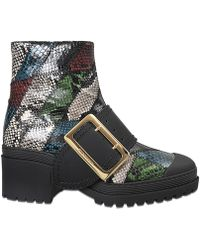 Burberry - Leather And Snakeskin Cut-out Platform Boots In Dark Chocolate   - Lyst