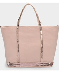 Vanessa Bruno Small Cabas Tote Bag In Nude Linen And Sequins - Natural