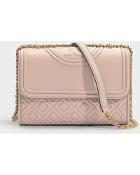 Tory Burch - Fleming Small Convertible Shoulder Bag In Light Taupe Calfskin - Lyst