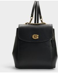 COACH - Refined Calf Leather Parker Backpack In Black Calfskin - Lyst