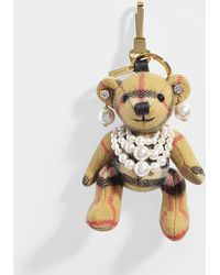 Burberry Thomas Bear Pearl Bag Charm In Antique Yellow Vintage Check Cashmere