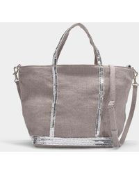 Vanessa Bruno Petit Cabas Tote In Gray Linen And Sequins
