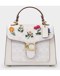 COACH Coated Canvas Signature Floral Embroidery Tabby Top Handle 20 - Natural