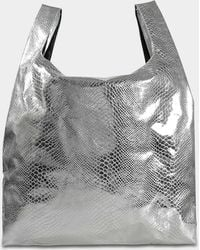 MM6 by Maison Martin Margiela - Shopper Bag In Silver Snake Printed  Synthetic Leather - Lyst aa549f8143d