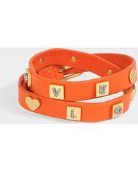 Tory Burch - Message Double Wrap Bracelet In Tory Orange Vintage Gold Brass Enamel And Swarovski Stone - Lyst