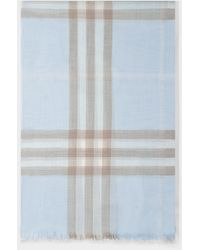 Burberry Giant Check Gauze Scarf In Pale Blue And Beige Wool And Silk