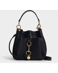 See By Chloé Tony Medium Bucket Bag In Black Grained Calfskin