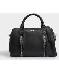 Zadig & Voltaire Medium Sunny Bag In Black Grained Leather And Studs