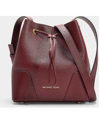 MICHAEL Michael Kors - Cary Small Bucket Bag In Burgundy Calfskin - Lyst