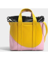 Pierre Hardy Tote Bag In Yellow Pink Calfskin - Blue