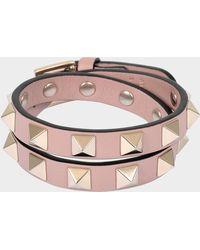 Valentino - Bracelet ou collier choker rockstud double rows en cuir de veau poudré - Lyst