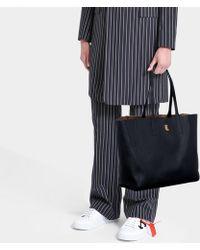 MCM - Wandel Medium Shopper Bag In Black Calfskin - Lyst