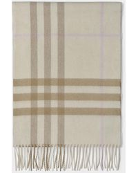 Burberry Checked Scarf Cream - Natural