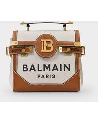 Balmain Bbuzz 23 Handbag In Brown Linen