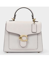 COACH Mixed Leather Tabby Top Handle 20 Chalk - Blanc
