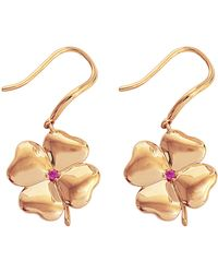 Aurelie Bidermann - Fine Jewellery - 18k Gold Clover Earrings With Ruby Stones - Lyst