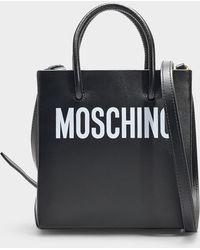 Moschino Petit Sac Porté Epaule Logo en Cuir de Veau Noir