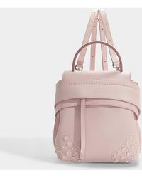 Tod's - Wave Mini Backpack In Pink Grained Calfskin - Lyst