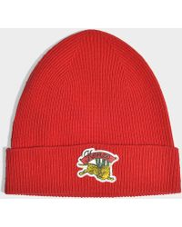 KENZO - Jumping Tiger Beanie In Jumping Tiger Red Wool - Lyst