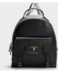 Polo Ralph Lauren Steer-head Leather Backpack - Black