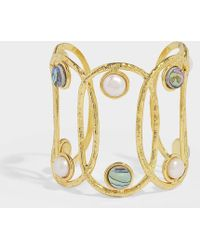 Sylvia Toledano - Jackie Cuff Bracelet In Gold-plated Brass, Pearls And Abalones - Lyst
