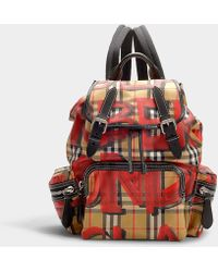 Burberry - Medium Graffiti Print Rucksack In Red Nylon - Lyst