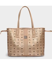 MCM Project Visetos Medium Shopper In New Champagne Gold Canvas - Metallic