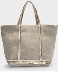 Vanessa Bruno Small Cabas Tote Bag In Sand Linen And Sequins - Natural