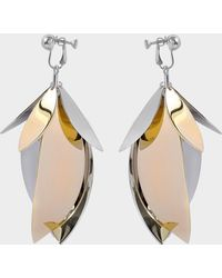 Proenza Schouler - Full Leaf Earrings In Silver Brass Aluminium - Lyst