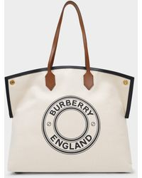 Burberry Lg Society Tote Bag In Brown Cotton