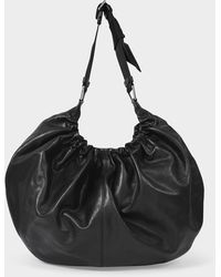 Ganni Xxl Hobo Bag In Black Leather